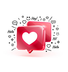 Heart like icon sign follower 3d banner love vector