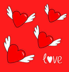 heart set with wings cute cartoon contour sign vector image