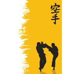 Hieroglyph of karate and men demonstrating karate vector