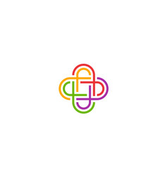 initial f with plus sign link community logo vector image