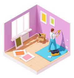 isometric worker drilling wall vector image