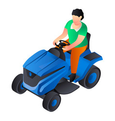 Lawnmower tractor icon isometric style vector