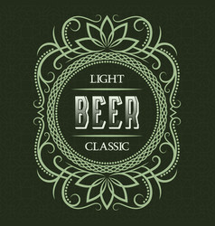 light classic beer label design template vector image