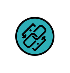 Link chain url connection link flat color icon vector