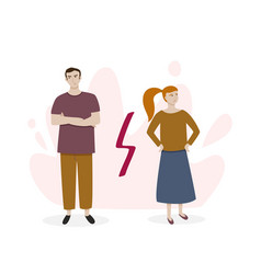 Man and woman in a quarrel couple turning away vector