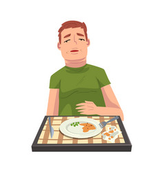 Man with full stomach eating delicious meal vector