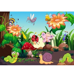 Many insects in the garden vector image vector image