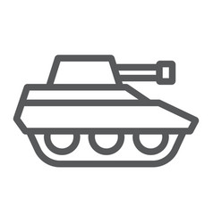 military tank line icon war and army vehicle vector image
