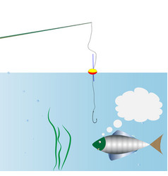 on fishing monologue of fish swimming around the vector image
