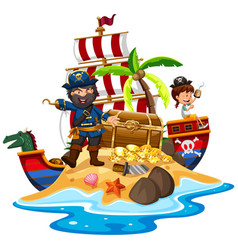 Pirate and ship at the treasure island vector