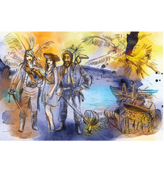 Pirates an hand drawn freehand drawing vector