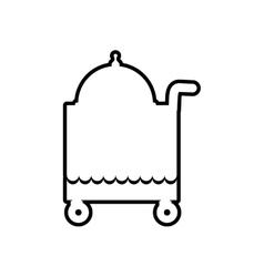Plate cart waiter restaurant hotel icon vector