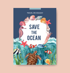 Poster design with sealife-theme watercolor vector