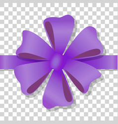 Purple flower bow on transparent background vector