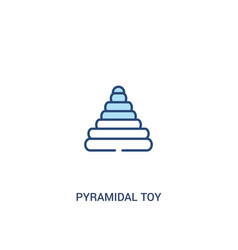 Pyramidal toy concept 2 colored icon simple line vector