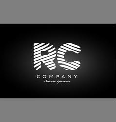 Rc r c letter alphabet logo black white icon vector