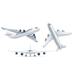 realistic airplane aircraft white 3d mockup vector image