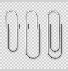 Realistic metal paper clip on checkered background vector