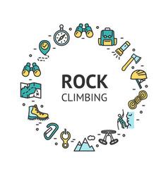 rock climbing round design template contour lines vector image