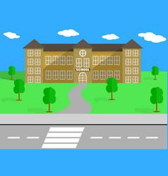 School building and schoolyard vector