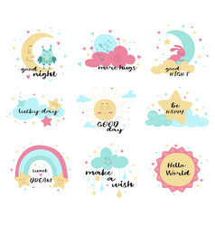set cute poster designs in muted colors vector image