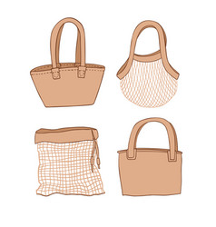Set eco bags in hand draw cartoon style vector