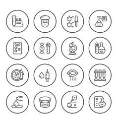 set round line icons of medical analysis vector image