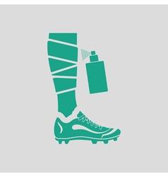 Soccer bandaged leg with aerosol anesthetic icon vector