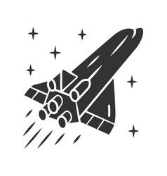 Spaceship glyph icon flying spacecraft aerospace vector