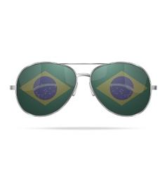 Sunglasses with Brazil flag inside vector image