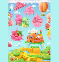 sweet candy land 3d object set plasticine art vector image