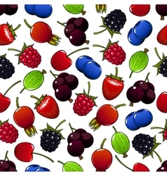 Sweet summer berry and fruit seamless pattern vector image