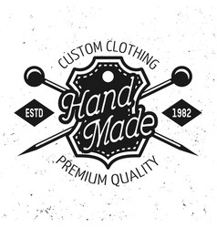 tailor shop emblem with text hand made vector image
