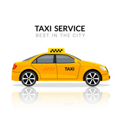 taxi car app cab flat yellow car icon taxi vector image