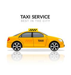 Taxi car app cab flat yellow car icon vector