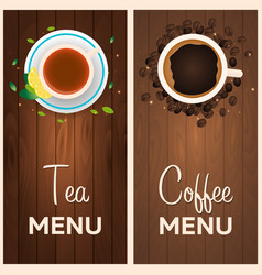 Tea and coffee menu wooden background vector