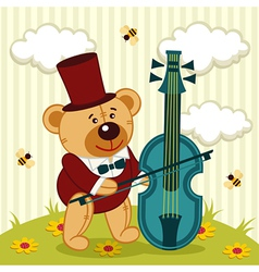 Teddy bear playing on cello vector