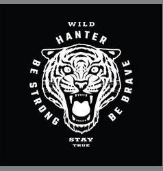 tiger wild hunter emblem t-shirt design on a vector image