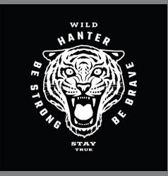 Tiger wild hunter emblem t-shirt design on a vector