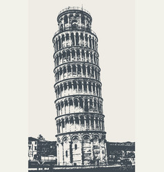 tower of pisa on the square of wonders vector image