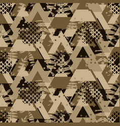 Triangle brown camo fern bold seamless vector