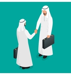 Two arab businessmen in national white garments vector