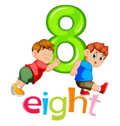 two boy carry on big number eight vector image