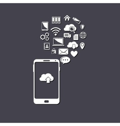 Use of cloud computing storage and applications vector