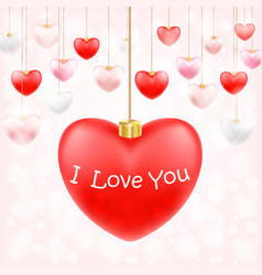 valentine hanging heart with i love you vector image