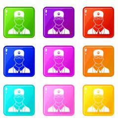 Veterinarian icons 9 set vector