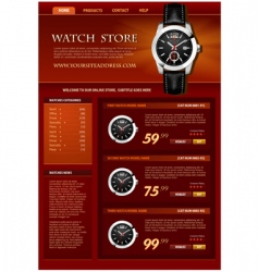 Watch store web site vector