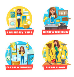 Window and floor cleaning laundry and dishwashing vector