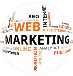 word cloud web marketing vector image