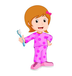 young girl brushing her tooth vector image